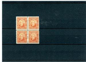 #141 VF MNH block of 4 1c Confederation MacDonald Prime MIn Cat $32 Canada mint