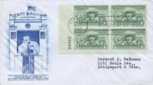 953 3c PUERTO RICO ELECTIONS - Fulton Plate Block of 4