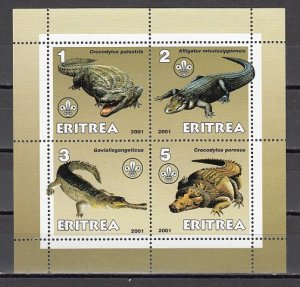 Eritrea, 2001 Cinderella issue. Alligators on a sheet of 4. ^