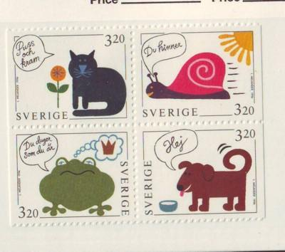 Sweden Sc2084-7 1994 Greetings animal stamps NH