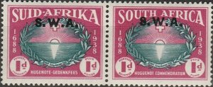 South West Africa, # B10 MH  Pair,  from 1939, hinge remnant