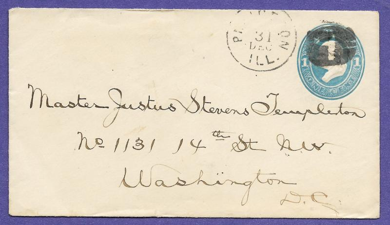 C1875 Light Blue On Amber Us Postal History Cover