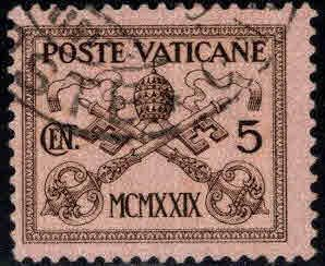 VATICAN Scott 1 Used 1929 stamp