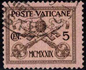 VATICAN Scott 1 Used 1929 stamp