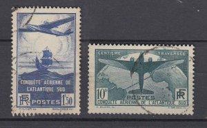 J29306, 1936 france set used #c16-7 $135.25 scv airplanes