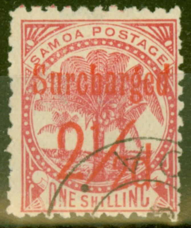 Samoa 1898 2 1/2d on 1s Dull Rose-Carmine SG85 V.F.U