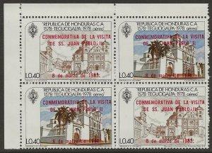 Honduras 1983 #C724, C725 40c Stamps Se-tenant BLOCK #C725a VF-NH CV 12.00