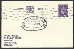 GB SCOTLAND 1966 card Clyde Steamer cachet T.S.QUEEN MARY II..............48235