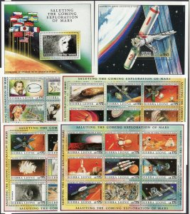 1990 Sierra Leone Space Exploration (6) S/S MNH full set Sc# 1167 / 1171A $92.