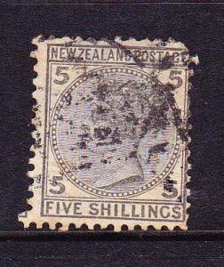 NEW ZEALAND 1874 5/- QV FSF FU SG 186