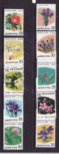 Korea-Sc#944-53-unused NH set-Flowers-Flora-1975-