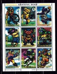 Mongolia 2330M MNH 1998 Grateful Dead sheet of 9