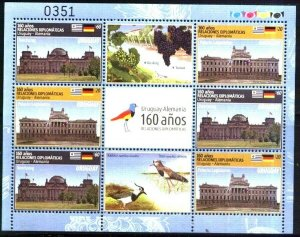 URUGUAY 2016,GERMANY DIPLOMATIC REL.FLAGS,BIRDS,GRAPES,ARCHITECTURE,MINISHEET