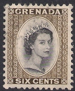 Grenada 1953 - 59 QE2 6ct Black & Olive Green used SG 198 ( E70 )
