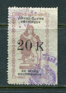 x228 - HUNGARY Abauj-Torna 1920s Municipal Revenue Stamp. Sick Fund 20k Used