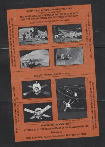 ASDA sheet of 8 Apollo 15/Mariner Poster stamps Maroon for 1971  Stamp Expo - P