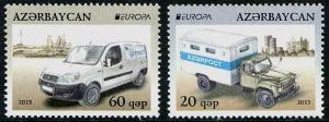 HERRICKSTAMP AZERBAIJAN Sc.# 1011-12 EUROPA 2013 Postal Vehicles