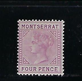 MONTSERRAT SCOTT #10 1885 4P (RED LILAC)   MINT LIGHT  HINGED