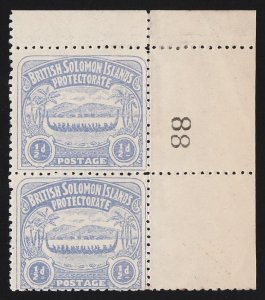 SOLOMON ISLANDS : 1907 Large Canoe ½d pair with Sheet No 88. MNH **.
