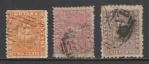 British Guiana Sc 19, 48, 54 used. 1860-1868 Seal of the Colony issues, faults