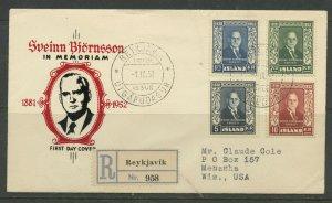 ICELAND SCOTT# 274-277 SVEINN BJORNSSON REGISTERED FDC TO WISCONSIN AS SHOWN
