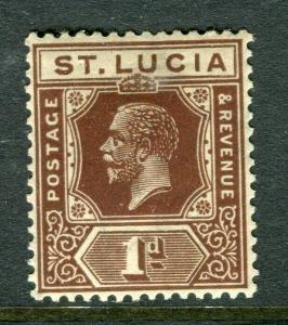 ST.LUCIA; 1921 early GV issue fine Mint hinged Shade of 1d. value