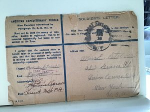 American Expeditionary Forces soldiers letter  stamps cover Ref R25631