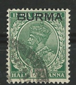 Burma # 2   George V   1/2a. Overprint on India  (1)  VF Used