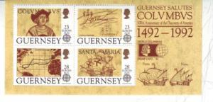 Guernsey Sc 470b 1992 Columbus Europa stamp sheet mint NH Stamp expo ovpt