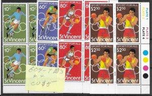 St. Vincent #604-607 MNH - Block Set - CAT VALUE $5.00