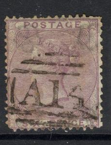 TOBAGO SGZ3 1856 6d LILAC WITH A14 CANCEL USED