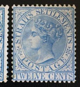 Malaya 1867 Straits Settlements QV 12c wmk Crown CC MH SG#15 M2685