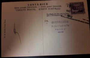 O) 1912 COSTA RICA, TELEGRAPH STAMP 25c OVERPRINT, POSTAL CARD - UPU, TO PARIS
