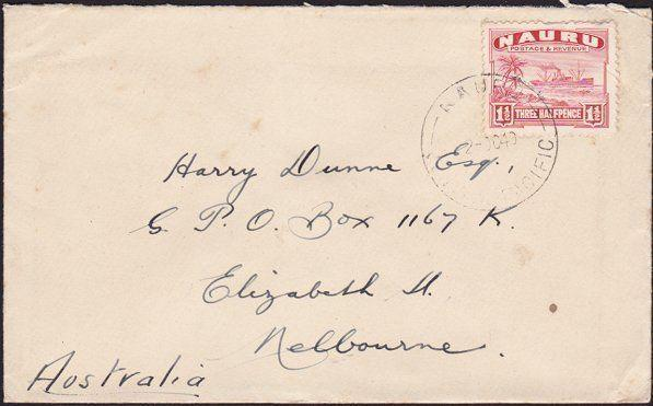 NAURU 1940 1½d freighter on commercial cover to Melbourne...................7014