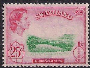 Swaziland 1961 QE2 25ct Highveld View MM SG 86 ( M19 )