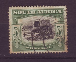 J24554 JLstamps 1927-8 south africa used  #31a, 5sh ox wagon 35.00scv
