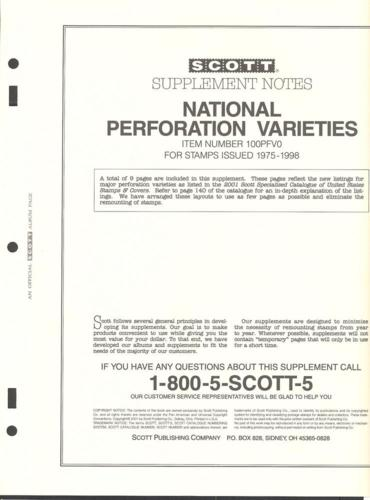National Perforaion varieties Supplement # 100PFV0