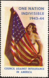 Stamp Label USA 1943 WWII Poster Council Against Intolerance in America MNH