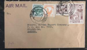 1950s Rangoon Burma Commercial Airmail Cover To Stockholm Sweden