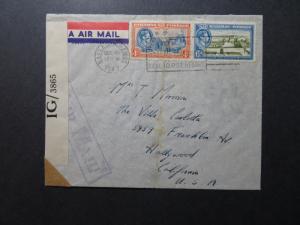Bahamas 1943 Censored Airmail Cover to Hollywood - Z10751