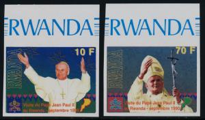 Rwanda 1353-5 imperf MNH Pope John Paul II