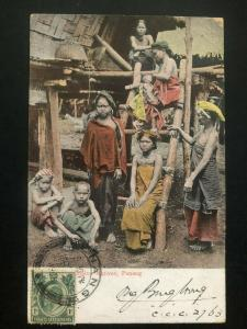 1908 Penang Malaya Picture Postcard cover to Munich Germany Natives