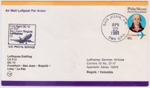 United States - Columbia 1981, Lufthansa First Flight, San Juan to Bogota with D