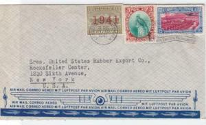 guatemala 1941 luftpost airmail to new york stamps cover ref r14920