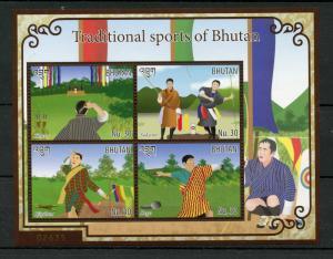 Bhutan 2015 MNH Traditional Sports of Bhutan 4v M/S Khuru Soksom Bjigdum Dego