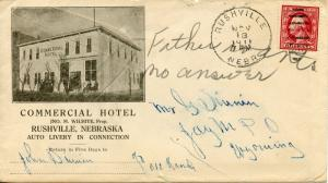 2-Cent Washington On 1911 Ad Cover for the Commercial Hotel Rushville Nebraska