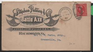 ADV COVER Stephen Putney Battle Axe Footwear Richmond VA Full Ad on Back 1900