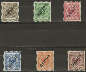 German Colony of Samoa Mi 1-6 Mint Hinged (Inc. 3c Mint No Gum; 5b=thin)  CV$302