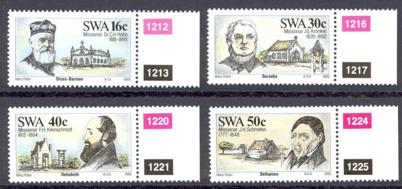 South West Africa Sc# 610-613 MNH 1989 Missionaries & Mission Stations