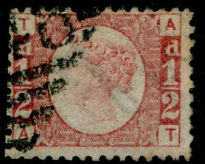 SG49, ½d rose PLATE 20, USED. Cat £80. IRELAND. AT